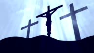 3 Crosses Christ Worship White Loopable Background video