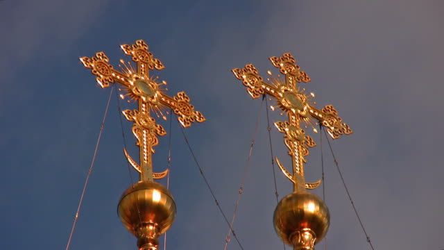Crosses on church Moscow Russia video