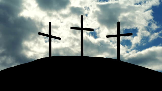 Crosses On Hill With Dramatic Sunny Sky video