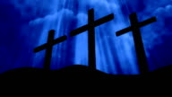 3 Crosses Worship Blue Loopable Background video