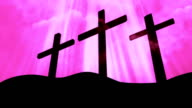 3 Crosses Worship Pink Loopable Background video
