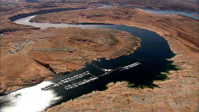 Crossing Into Arizona Towards Page  - Aerial View - Arizona,  Coconino County,  United States video