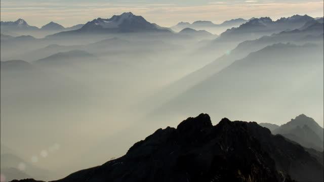 Crossing the Alps At Dusk  - Aerial View - Rhône-Alpes, Savoy, Arrondissement d'Albertville, France video