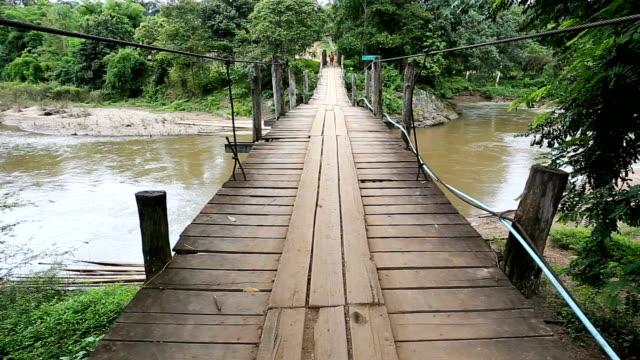 Crossing the Rope Bridge Full HD. video