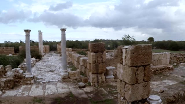 Crossroad of antique streets ruins ancient town Salamis east Cyprus Famagusta video