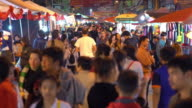 Crowd in chiang mai night walking street, chinese new year video