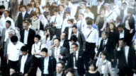 Crowd of commuters on their way to work in Tokyo video