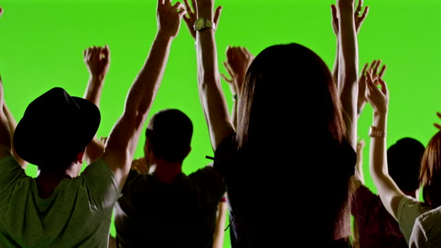Crowd of fans dancing on green screen. Concert, jumping, dancing. Slow motion. Shot on RED EPIC Cinema Camera. video
