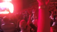 Crowd of male and female fans enjoying concert of popular singer, applauding video