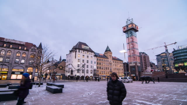 Crowd Of Pedestrians In The Commercial District Of Oslo, Norway video