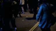 crowd of people in London at Night video