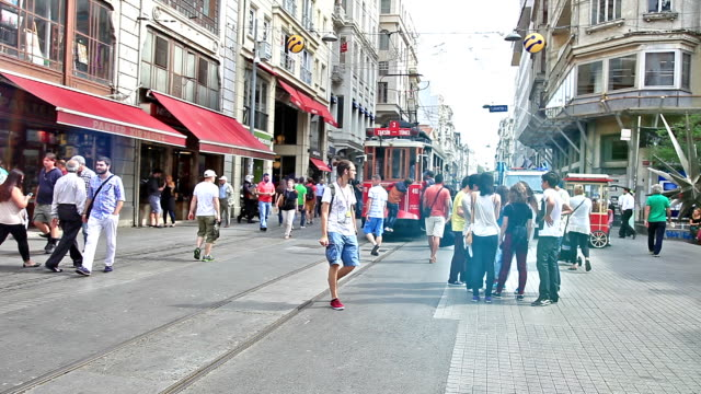HD: Crowd of People Walking in the Istiklal Avenue video