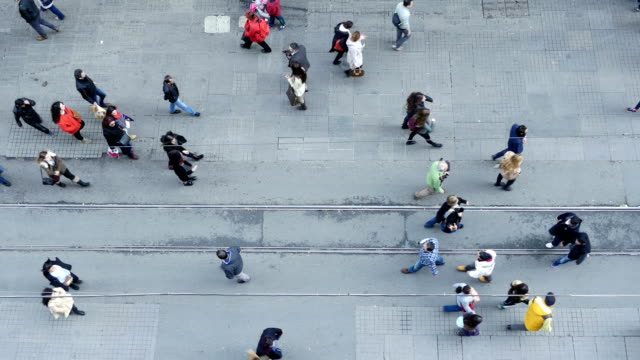 Crowd of people walking on Istiklal Street, Beyoglu, Istanbul, Turkey. video