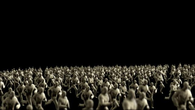 Crowd of Plaster Businessman running video