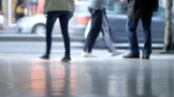 Crowd of random pedestrians, defocused, walking, Belgrade streets. serbia, Europe video