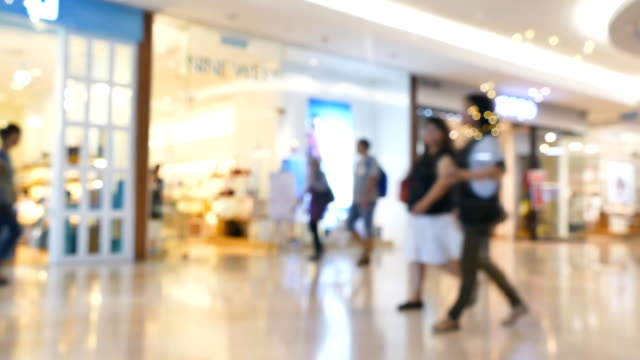 Crowd of Shoppers in a Busy Shopping Mall video