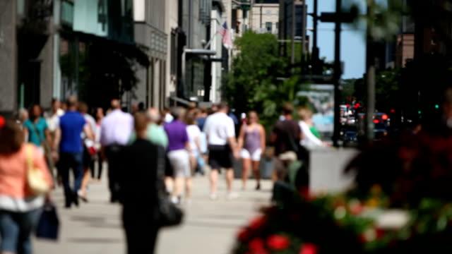 Crowd on Michigan Avenue Chicago video