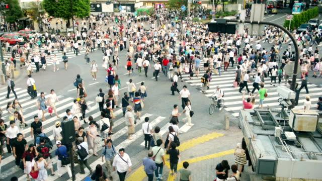 Crowd on Shibuya crossing Japan video