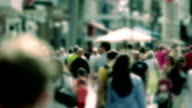 Crowd, People, City Summer, Slow Motion, Shopping Street, CrossProcess FX video