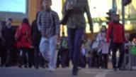 Crowd people crossing road video