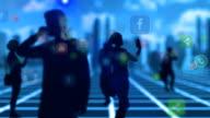 crowd people using smartphone social media video
