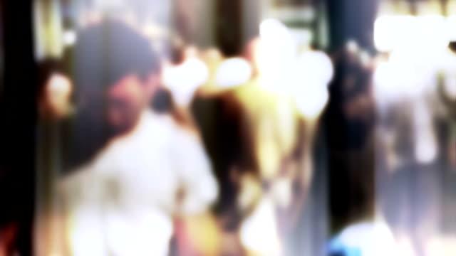 Crowd, slow motion, lens bokeh video