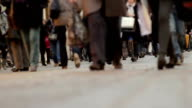Crowd walking, odd angle video