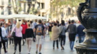 Crowded Barcelona City Center in Autumn video