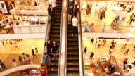 crowded escalator in the mall video