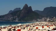 Crowded Ipanema beach in Rio de Janeiro at the weekend video