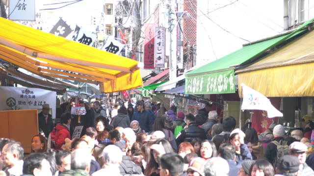 Crowded people at Tsukiji Fish Market video