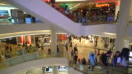 crowded people in luxuly shopping mall video