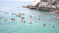 crowded people snorkelling or diving video