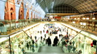 Crowded people train station in London, time lapse video