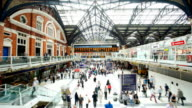 Crowded people train station, Liverpool Street, in London, time lapse video