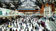Crowded people train station, Liverpool street in London, time lapse video