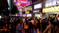 Crowded Shopping Street at Night video