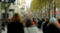 Paris, France - November 11, 2014: Crowded street Champs-Elysée in Paris. Tourists. video