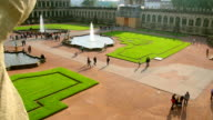 Crowded tourist attraction place Dresden Royal Palace Zwinger. Beautiful shot of Europe, culture and landscapes. Traveling sightseeing, tourist views landmarks of Germany. World travel, west European trip cityscape, outdoor shot video