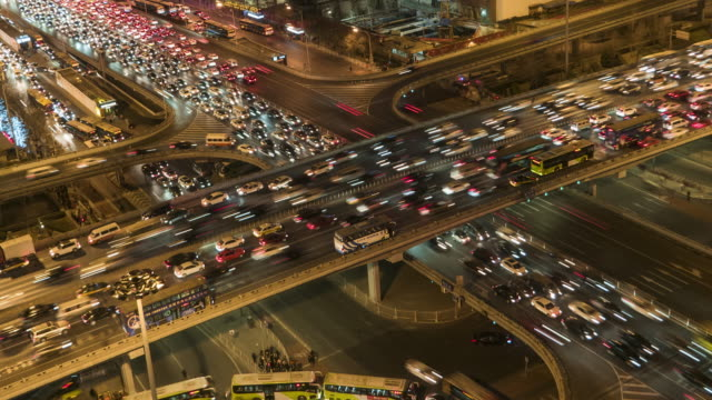 T/L MS HA PAN Crowded Traffic / Beijing, China video