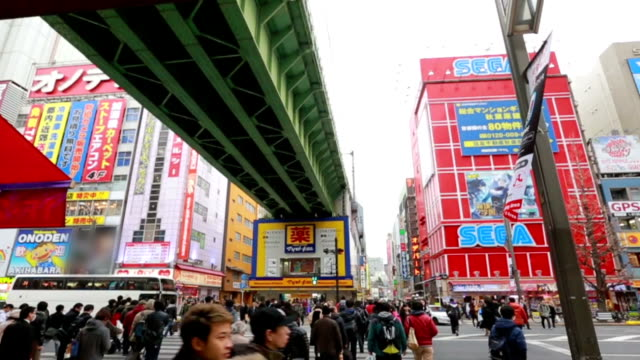 Crowds across road below colorful signs in Akihabara. The historic electronics district has evolved into a shopping area for video games, anime, manga, and computer goods. video