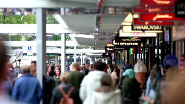 Crowds at shopping street in Rotterdam video