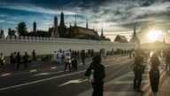 Crowds of mourners at Sanam Luang, while the body of Thailand Bhumibol Palace video