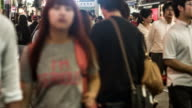 Crowds of people in Shibuya at night video