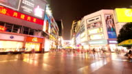 crowds,walking street,commercial buildings exterior in Chengdu,hyperlapse. video