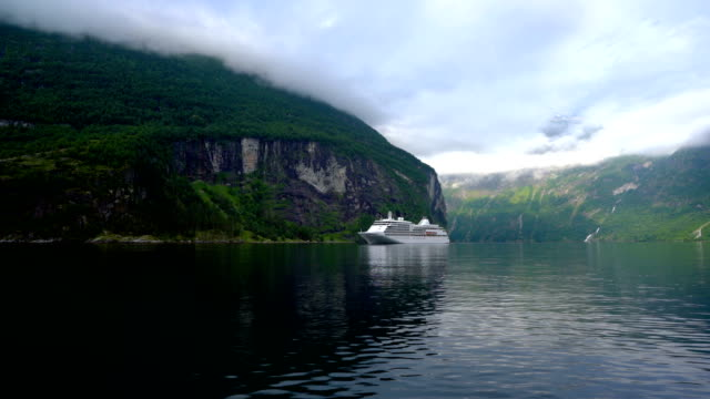 Cruise Liners On Geiranger fjord, Norway video