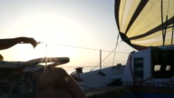 cruise on a yacht at sunset video