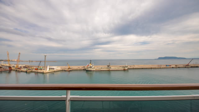 T/L Cruise ship approaching the port in Palermo video