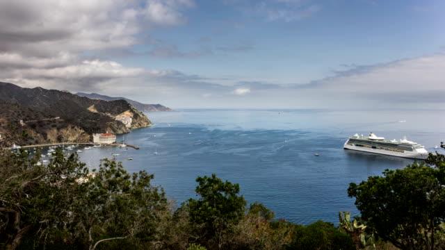 Cruise Ship at Avalon, Santa Catalina Island night time Lapse video