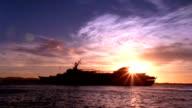 Cruise Ship at Sunset - HD video